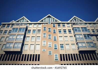 Residential building photographed from the bottom