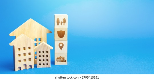 Residential buildings and blocks with the attributes of life. Criteria for choosing a residence place. Security, location infrastructure, availability of educational institutions and high-paying jobs - Shutterstock ID 1795415851
