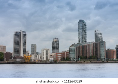 Residential buildings in Canary Wharf in London, England.