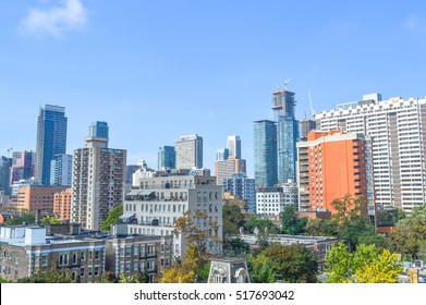 Residential buildings in downtown Toronto Ontario Canada.