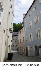 Residential buildings in a narrow old town street in the city of Landsberg