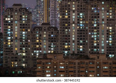 residential buildings night view