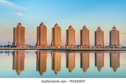 Residential buildings on the Pearl, an artificial island in Doha, Qatar. The Middle East