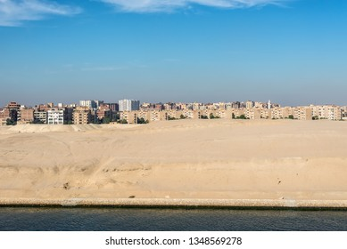 Residential buildings on the shore of Suez Canal in Ismailia, Egypt, Africa