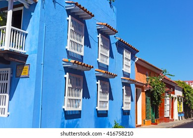 Residential buildings at San Diego square (Plazuela De San Diego) in Cartagena walled city, Colombia. Colorful buildings under the bright tropical sun.