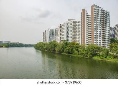 Residential buildings in Singapore by the waterway