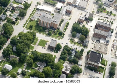 The residential and commercial portions of a small town.