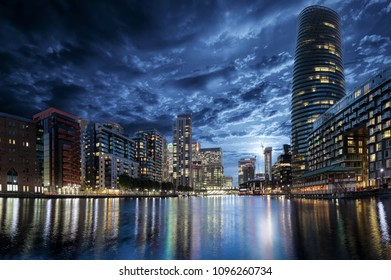 The residential district Millharbour at Canary Wharf in London, United Kingdom, during night time