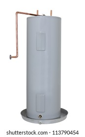 Residential Electric Water Heater Tank; isolated on white