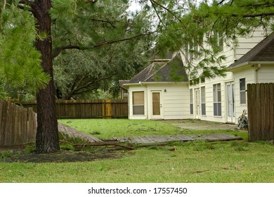 Residential fence damage because of wind