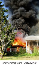 residential fire, fully involved