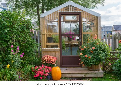Residential greenhouse decorated for autumn.