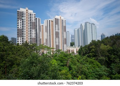 Residential high-rise buildings in Singapore, among green parks