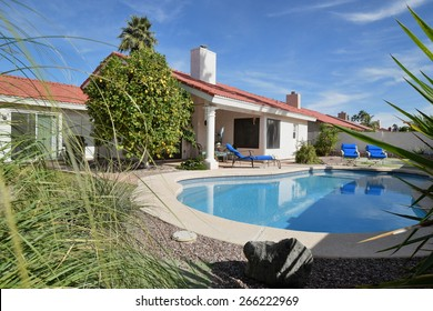 Residential home backyard with pool