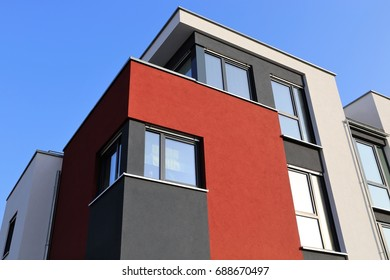 Residential home with modern facade painting, exterior shot