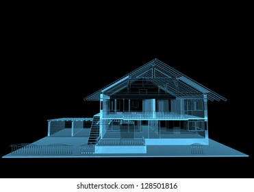 Residential house (3D x-ray blue transparent isolated on black)
