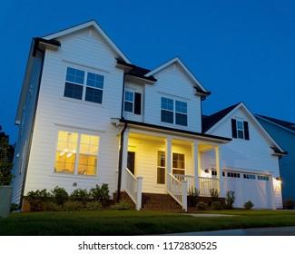 residential house at dusk