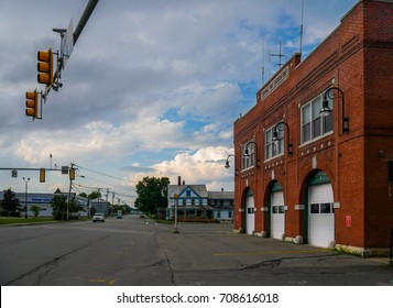 Residential house and Fire Station building in Waterville, Maine, a beautiful small town of the New England region of the United States.