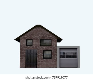 Residential house with garage from front view isolated on white. 3d rendering
