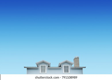 Residential house on blue sky background