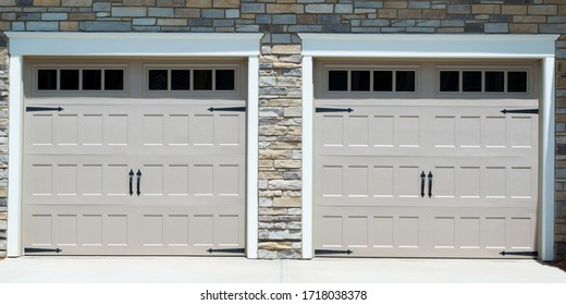 Residential house two garage doors
