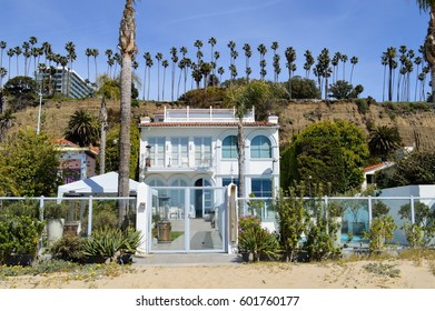 Residential houses, hotels and villas on the sandy shore of Santa Monica City, California.