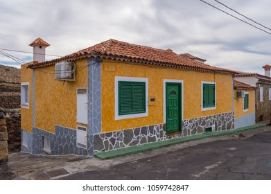 Residential houses of many colors and Canarian architecture on the island of Tenerife, Spain