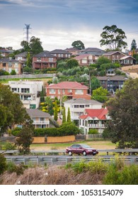 Residential houses in Melbourne's suburb near main road. Moonee Valley, VIC Australia.