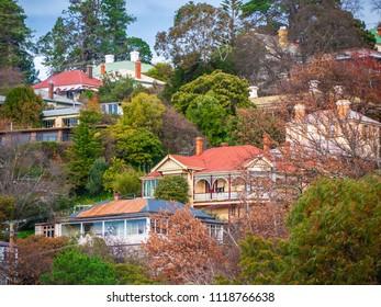 Residential houses on hill in Launceston. Tasmania, Australia.