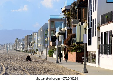Residential houses on the sandy shore of Marina del Rey, California.