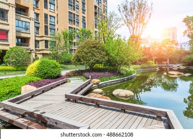 residential houses with public green park,wuxi city,china.