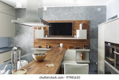 residential interior of modern kitchen in luxury mansion