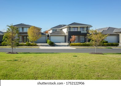 Residential neighborhood street with some modern Australian homes. The beautiful environment in Melbourne's suburb. Wyndham Vale, VIC Australia. - Shutterstock ID 1752122906
