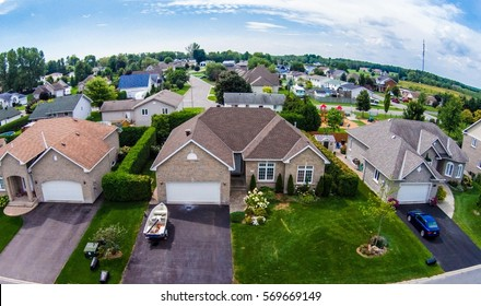Residential neighborhood subdivision skyline Aerial shot