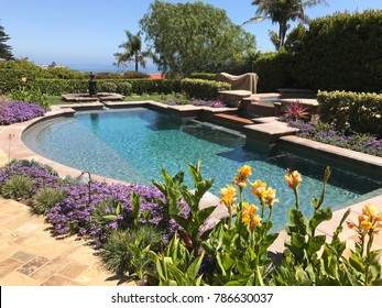 residential pool with flowers