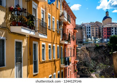 Residential pretty colorful houses in Alcoy city. Province of Alicante, Spain