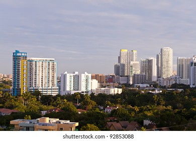 Residential rental apartment and condominium buildings in the Brickell area of downtown Miami.
