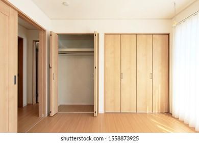 Residential room interior. Storage space