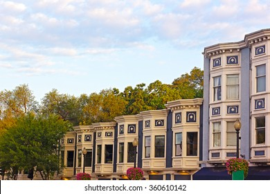 Residential row houses in Georgetown suburb of Washington DC, USA. Historic residential architecture of US Capital.