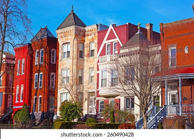 Residential row houses in US Capital during winter time. Historic architecture of Mount Vernon Square in Washington DC, USA