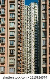 residential skyscraper building, real estate exterior, HongKong -