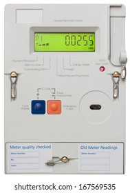 Residential smart electricity meter isolated on white with clipping path