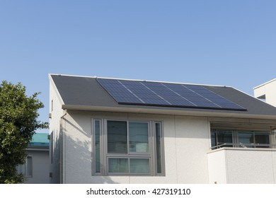 Residential solar panel construction cases simple blue sky
