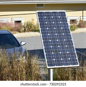 Residential solar panel mounted on the ground for clean and renewable energy.