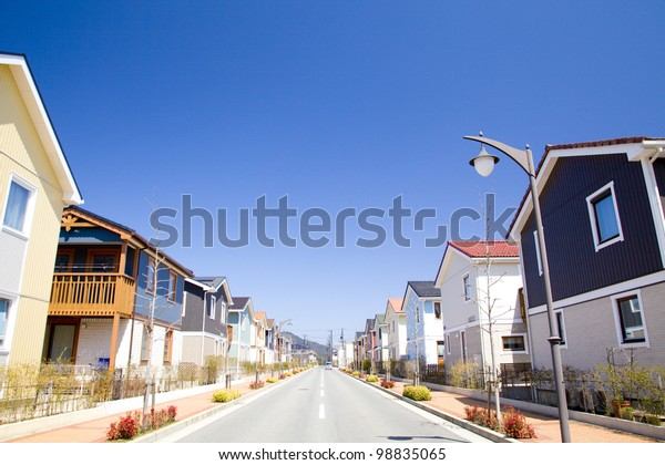 residential street and blue sky