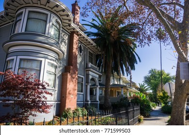 Residential street in San Jose, south San Francisco bay, California