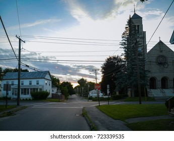 Residential street in Waterville Maine, beautiful small town of New England region of USA