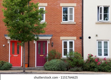 Residential terrace houses or flats in a town or city, England.