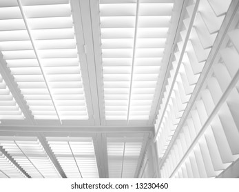 Residential White Plantation Shutters and Blinds in House