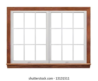 Residential window frame isolated on white (also have single frame window with 9 squares.)